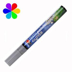 Marabu 011903582 - Marqueur pour tissu Textil Painter Glitter, silver, pointe ogive 3 mm