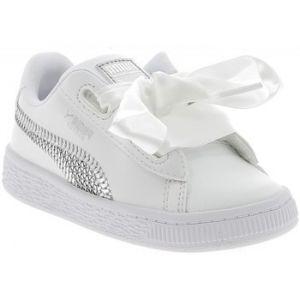 Puma Pour Fille Enfant Chaussure Baskets Blanc Heart Basket
