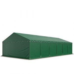 Intent24 Abri / Tente de stockage PREMIUM - 6 x 12 m en vert fonce - avec cadre de sol et renforts de toit, bâches en PVC haute densité 500 g/m² 100% imperméable, armature en acier galvanisé (antirouille), fixage par boulonnage.FR