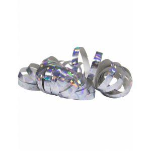 2 Rouleaux de serpentins holographiques argentés 4 m Taille Unique