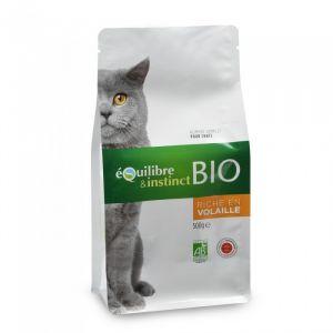 Equilibre & instinct Croquettes Bio de viandes fraîches à la volaille pour chat  sachet 500 gr