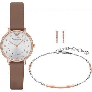 Emporio Armani AR8040 - Coffret montre avec bracelet et boucles d'oreilles pour femme