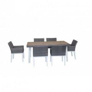 Table et 6 fauteuils de jardin - Aluminium et résine tressée