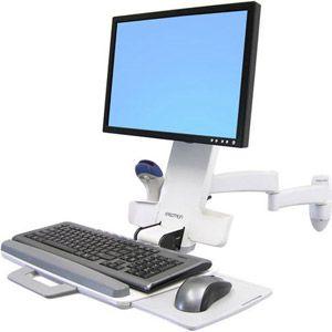 Ergotron 200 Series Combo Arm - Kit de montage ( poignée, fixation murale, bras articulé, plateau de support, repose-poignets ) pour écran LCD / clavier / souris / lecteur de codes à barres - plastique, aluminium, acier - blanc - Taille d'écran : jusqu'à