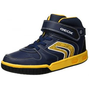 Geox Jr Gregg B, Baskets Hautes garçon, Bleu (Navy/Yellow C4054), 25 EU
