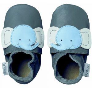 Bobux Soft sole Eléphant gris - Chaussons cuir bébé