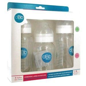 dBb Remond 129405 - Pack de 3 biberons L.O avec tétine en silicone (0-4 mois)