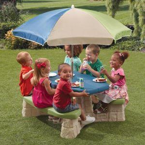 Step 2 Table picnic avec parasol haut - socle beige