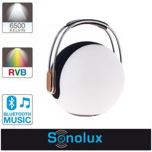 Xanlite Lanterne portable LED SONOLUX - blanc et multicolor - haut parleur bluetooth