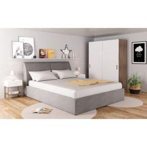 NIGHT Lit coffre relevable tissu gris clair + Sommier l 140 x L 190 cm