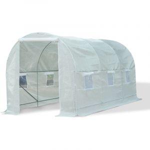 Homcom Outsunny Serre de Jardin Tunnel Surface Sol 9 m² 4,5L x 2l x 2H m châssis Tubulaire renforcé 18 mm 6 fenêtres Blanc