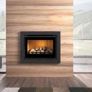 Fm Insert de cheminée en acier à verre sérigraphier 12,5 kw