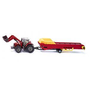 Siku Modèle réduit : Tracteur Massey Ferguson avec convoyeur à courroie