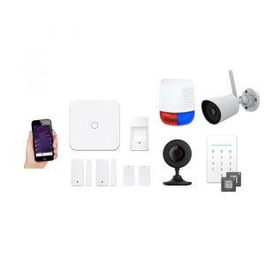 New Deal Pack alarme avec 2 caméras ND-L15IEO - Livrée avec 2 contacteurs, 2 télécommandes, 1 détecteur de mouvement, 1 sirène, 2 badges RFID, 2 caméras