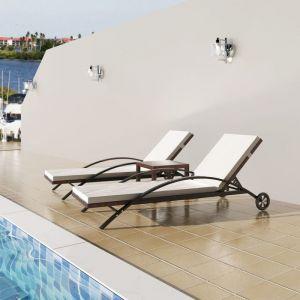 VidaXL Ensemble de chaises longues 3 pcs rotin synthétique marron