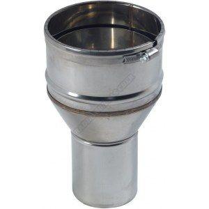 Ten Raccord inox pöele diamètre 80mm tubage flexible diamètre 153-161mm avec bagues à griffes 123805