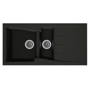 STRADOUR Evier cuisine à encastrer 1,5 bac + 1 uttoir Luna Composite MMC 100 x 50 cm Noir