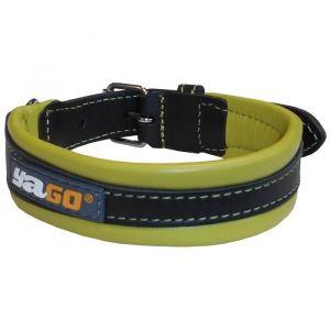 YAGO Collier en cuir - Taille M 34-43 cm - Noir et vert - Pour moyen chien