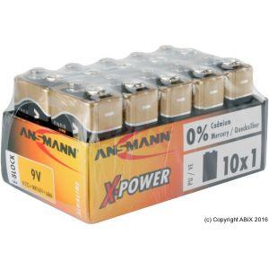 Ansmann 10 piles alcalines 6LR61 X-Power 9V