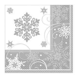 16 serviettes en papier flocons de neige 33 x 33 cm