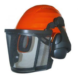 JARDIN PRATIQUE Casque de protection forestier avec grille métallique + Proteges oreilles - Casque de protection forestier, grille métallique, protège oreilles 26 dB relevables et bandeau.