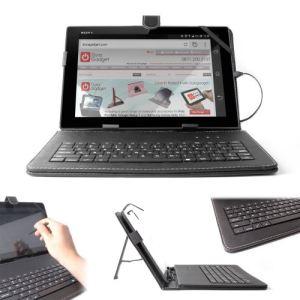 Duragadget Etui aspect cuir avec clavier intégré Azerty (français) support pour tablette + stylet tactile