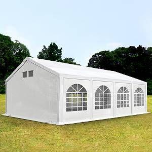 Intent24 Tente De Réception 4x8m Pe 300 G/M² Blanc Imperméable Barnum, Chapiteau, Tente De Jardin