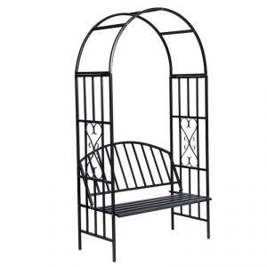 2202005 - Arche à rosiers avec banc de jardin en métal
