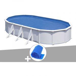 Gre Kit piscine acier blanc Fidji ovale 7,44 x 3,99 x 1,22 m + Bâche à bulles