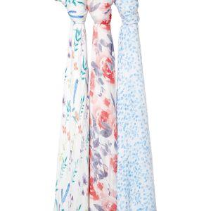 Aden + Anais Maxi-langes silky soft, 100% viscose de bambou, 120cm x 120cm, pack de 3, watercolour garden