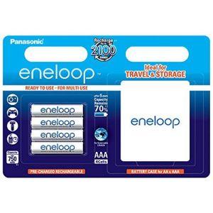 Panasonic Eneloop Micro 4x piles AAA 750 mAh + Batterie Case