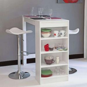 Table bar avec rangements latéraux blanc