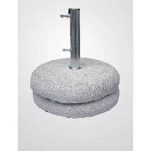 Pegane Pied de parasol en granite (grès béton) avec tube en acier 50 kg - Dim : 44 cm
