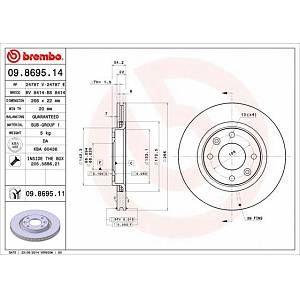 Brembo Jeu de 2 disques de frein CITROEN DS4, PEUGEOT 208, PEUGEOT 307, CITROEN C2, CITROEN C4, PEUGEOT 1007 (06509.8695.11)