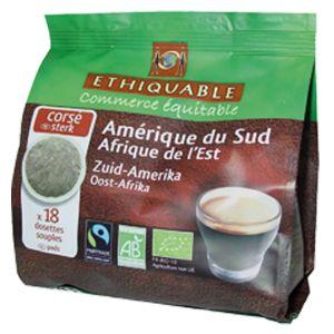 Ethiquable 18 dosettes souples de café corsé pour Senseo