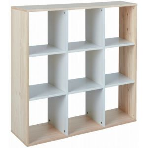 Étagère de séparation 9 cases pin m if clair et blanc Jam