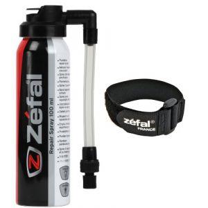 Zéfal Repair Spray - Bombe anti crevaison 100 ml pour vélo avec accroche Noire