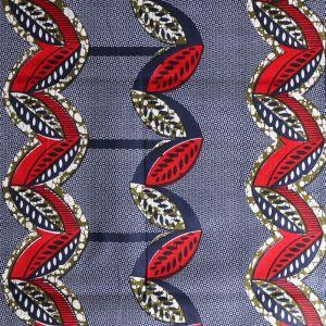 Craftine Tissu Wax Africain N°302 Tulipes Kaki et rouges sur fond Bleu marine - Par 50 cm
