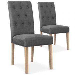 Declikdeco Lot De 2 Chaises Design En Tissu Gris HUCKL