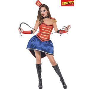 Smiffy's Costume de Dompteuse haute qualité, rouge, avec jupe, corset, chapeau, col, épau