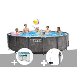 Intex Kit piscine tubulaire Baltik ronde 5,49 x 1,22 m + 6 cartouches de filtration + Douche solaire