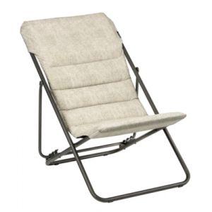 Lafuma Chaise longue, Pliable et réglable, Maxi Transat Bubble, Coussin polycoton, Couleur: Chanvre, LFM2652-8903