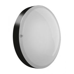 Ebénoid Hublot fluo 2X18W Ø 320mm polycarbonate noir avec lampes 4000K G24q-2 et ballast elec CL2 IK10 IP54 AXIOME T2 073264