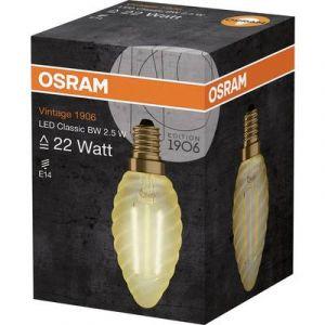 Image de Osram Ampoule torsadée LED flamme E14 Vintage Edition 1906 - 2,5 W - Ambré - Culot : E14 - Forme flamme torsadée - 2,5 W équivalent 21 W - Ambré - Blanc chaud 2400°K - Allumage instantané