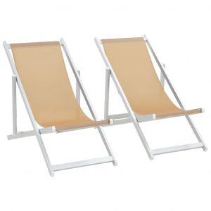 VidaXL Chaise de plage pliable 2 pcs Blanc cassé Aluminium Textilène
