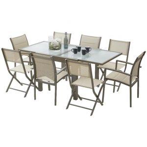 Wilsa Modulo 8 - Ensemble de jardin table, 4 fauteuils et 4 chaises