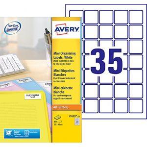 Avery-Zweckform Boîte de 875 mini-étiquettes laser blanches 35 x 35 mm. L7659-25.