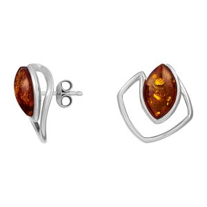 Cleor Boucles d'oreilles en argent ornées d'ambres - orange