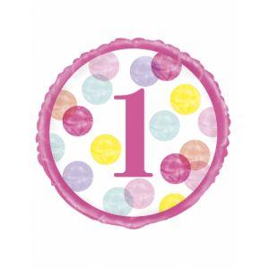 Ballon li 1 an pink dots