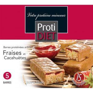 Proti Diet Barres protéinées arôme fraise et cacahuètes, 5 barres